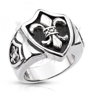 Acél pecsétgyűrű - címer, királyi liliom és patina kitöltés