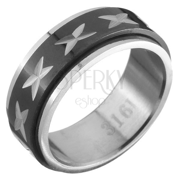 Fekete-ezüst gyűrű acélból - forgatható sáv, keresztek