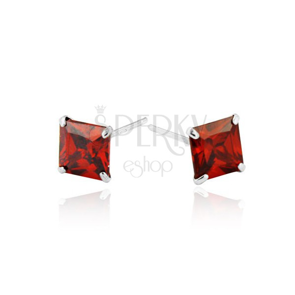 925 ezüst fülbevaló - piros cirkónia négyzet, 6 mm