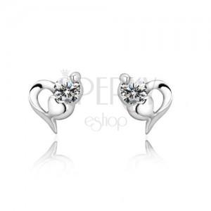 Bedugós ezüst fülbevaló - két szív és cirkónia