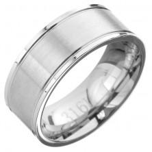 Gyűrű acélból - karika két szélén gravírozott vonallal