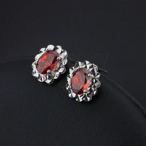 Fülbevaló ezüstből - piros Swarovski kristály, ragyogó keret