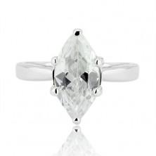 Ezüst gyűrű - nagy csiszolt cirkónia könnycsepp alakban