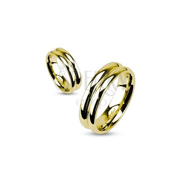 Nemesacél gyűrű arany színben - csatolt dupla karika
