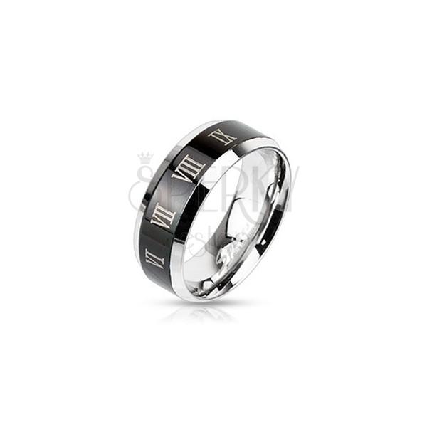 Orvosi acél gyűrű ezüst színben - fekete sáv és római számok