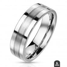 Acélgyűrű ezüst színben - két gravírozott vonal, fényes - matt