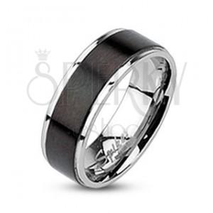 Acél karikagyűrű - matt fekete sáv, 6 mm