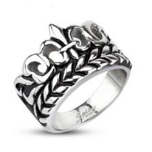 Hatalmas gyűrű acélból - Fleur de Lis motívum levelekkel, patinás