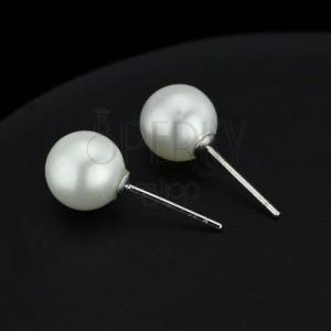 Ezüst fülbevaló - fehér színű gyöngyök, 8 mm