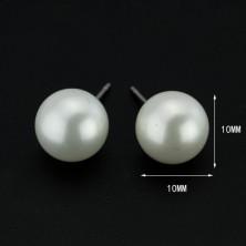 Fülbevaló 925 ezüstből - nagy fehér gyöngy, 10 mm