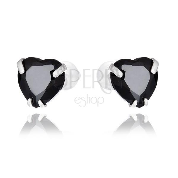 Sterling ezüst fülbevaló - fekete cirkonszív, 7 mm
