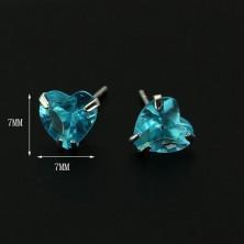 Bedugós 925 ezüst fülbevaló - türkizkék cirkonszív, 7 mm
