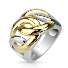 Láncmintás acélgyűrű - arany és ezüst színkombináció