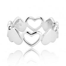 Ezüst gyűrű - összekapcsolt teljes és üres szívek