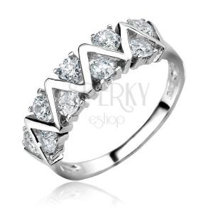Ezüst gyűrű - CIKCAK vonal tiszta cirkonkövekkel