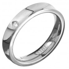 Acél karikagyűrű - fényes nyereg alak cirkonkővel