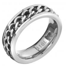 Acélgyűrű - ezüst szín, láncos betét