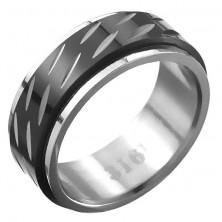 Acélgyűrű - forgatható középső sáv, két sor bemarás