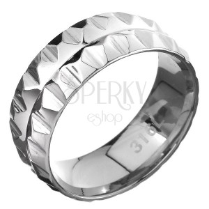 316L acél gyűrű - piramisok két sorban