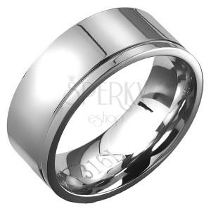 Gyűrű minőségi acélból - egy bemart vékony szegély