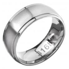 Gyűrű acélból - vékony fényes szegélyek, matt középső sáv