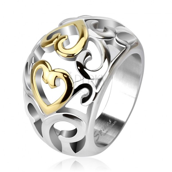 Csipkemintás gyűrű acélból, ezüst és arany