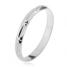 925 ezüst gyűrű - váltakozó függőleges és vízszintes bevágások