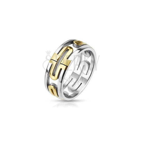 Gyűrű acélból - kivágott arany oválisok, ezüst szegély