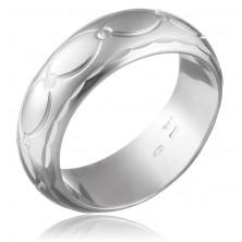 Széles sterling ezüst gyűrű - oválisok és kúpok
