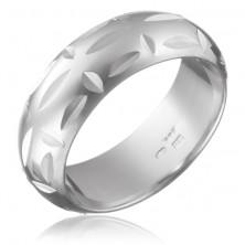 Gyűrű 925 ezüstből - fényes, merőlegesen elhelyezett mélyedések