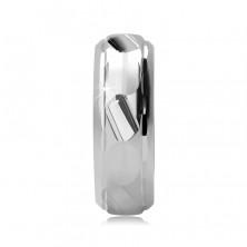 Gyűrű ezüstből - csiszolt szabálytalan sáv