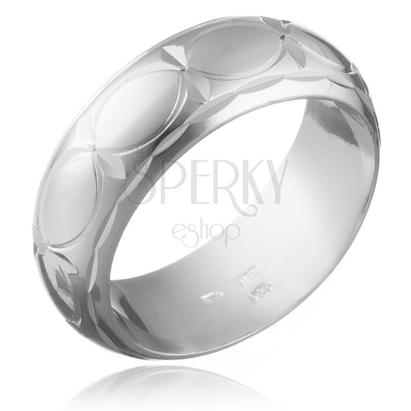 925 ezüst karikagyűrű - vésett sugarak és búzaszemek