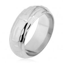 925 ezüst gyűrű - labirintus mintát alkotó L bevágások