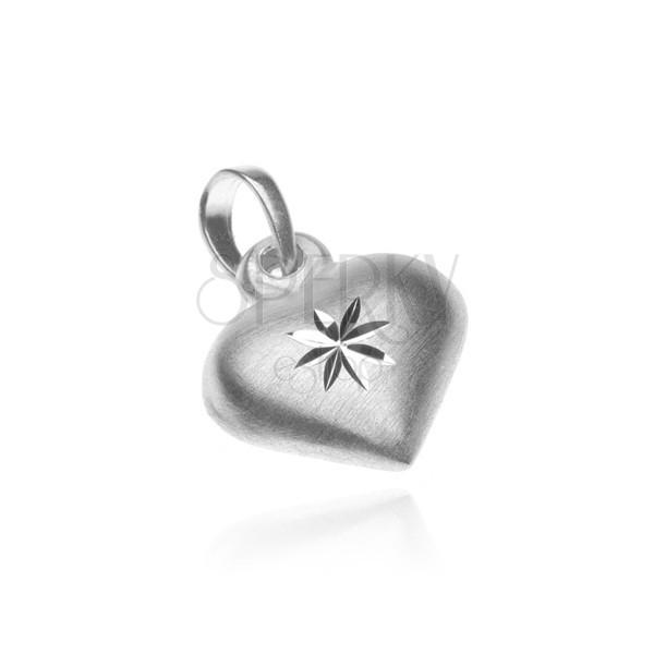 Ezüst függő - matt szív fényes csillaggal
