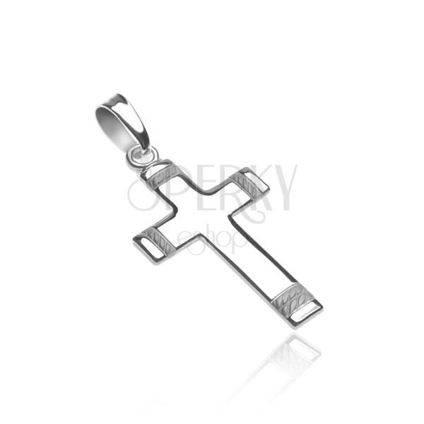 Kereszt 925 ezüstből - a szárak végén gravírozott kötél mintával