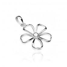 Medál 925 ezüstből - fényes ötszirmú virág