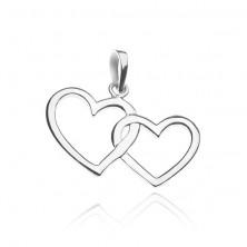 Ezüst medál - összekapcsolt szív körvonalak