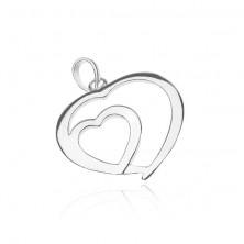Fényes ezüst medál - szív a szívben
