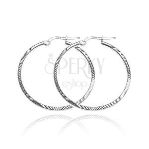 Fülbevaló 925 ezüstből - szögletes karika ferde vájatokkal, 35 mm