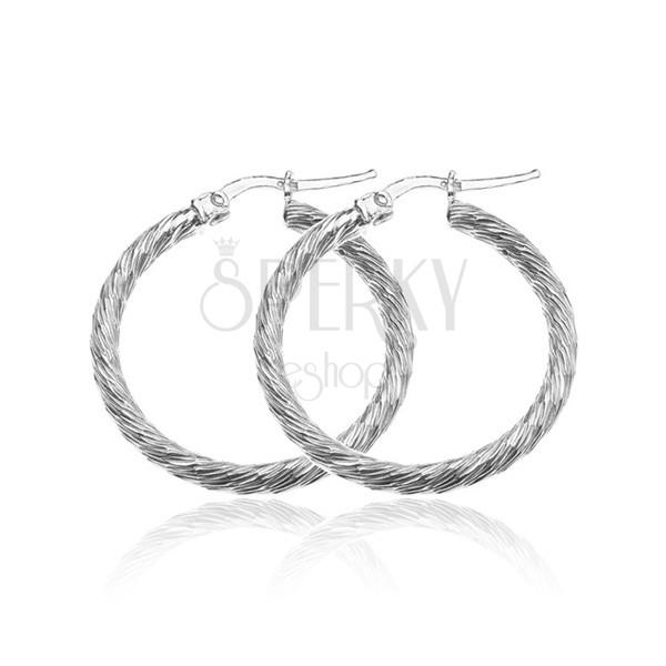 Ezüst karika fülbevaló - ragyogó vastag vonal, vékony bemarások, 30 mm