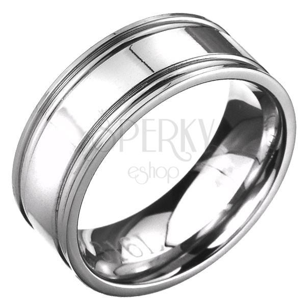 Gyűrű nemesacélból - fényes felület kettős bemart sávval