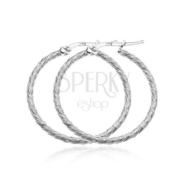 Fülbevaló sterling ezüstből - karika sűrű bemarásokkal, 40 mm