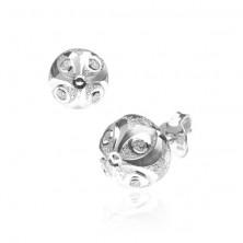 Fülbevaló 925 ezüstből - ragyogó félgömb, macskaszem