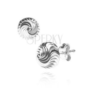 Bedugós ezüst fülbevaló - bemart sávok spirál alakban