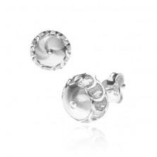 Bedugós fülbevaló 925 ezüstből - csatolt karikák a félgömb felületén