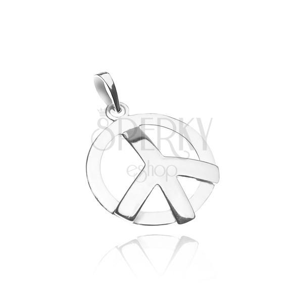 Medál 925 ezüstből - fényes domború béke szimbólum
