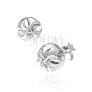 Fülbevaló 925 ezüstből - félholdak és karika a ragyogó félgömbön