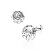 Bedugós ezüst fülbevaló - spirál ragyogó karikákkal