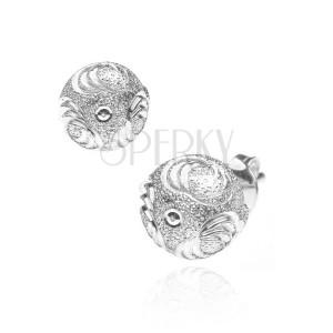Fülbevaló 925 ezüstből - csillogó félgömb, hármas karikák