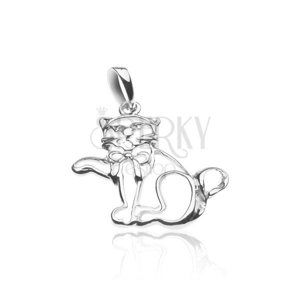 Ezüst medál - mancsot nyujtó macska masnival